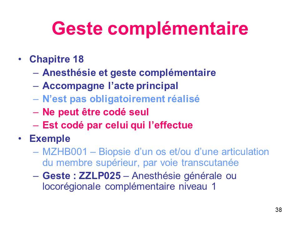 Geste complémentaire Chapitre 18 Anesthésie et geste complémentaire