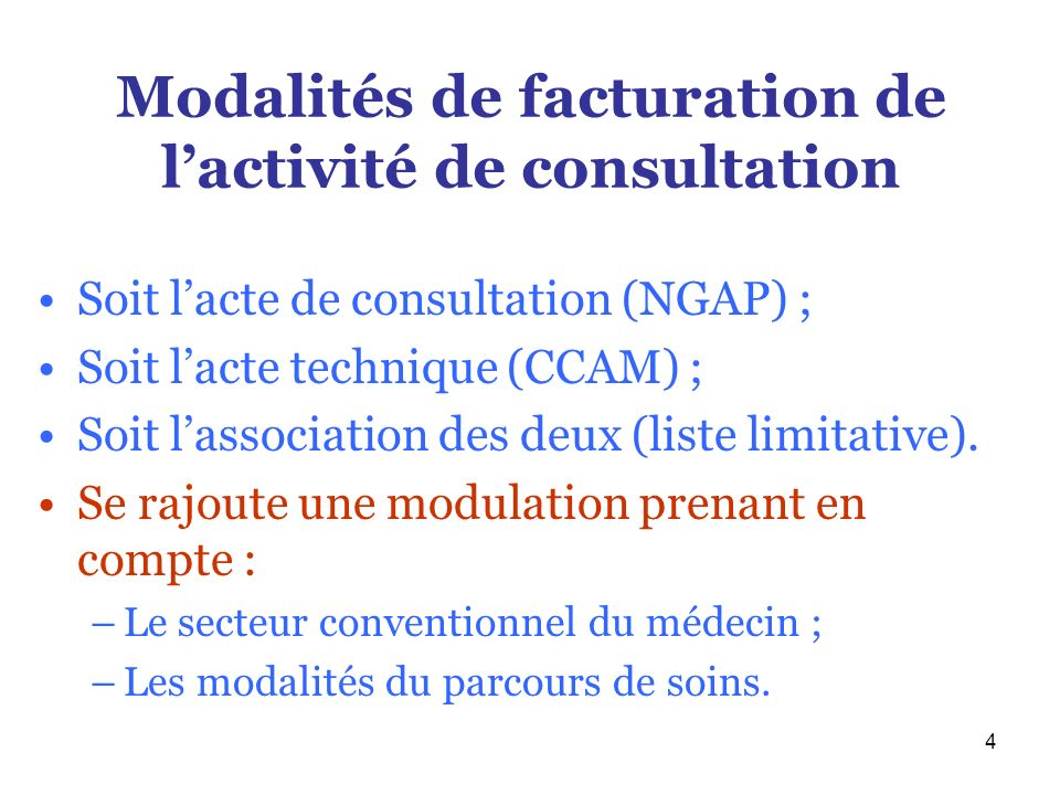 Modalités de facturation de l'activité de consultation