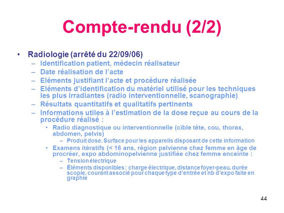 Compte-rendu (2/2) Radiologie (arrêté du 22/09/06)