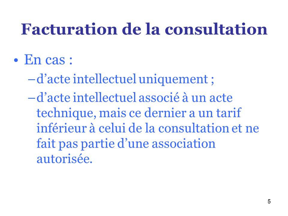 Facturation de la consultation