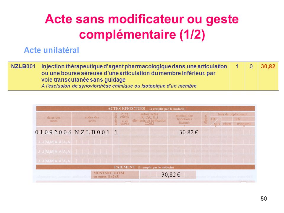 Acte sans modificateur ou geste complémentaire (1/2)