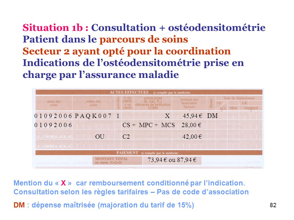 Situation 1b : Consultation + ostéodensitométrie