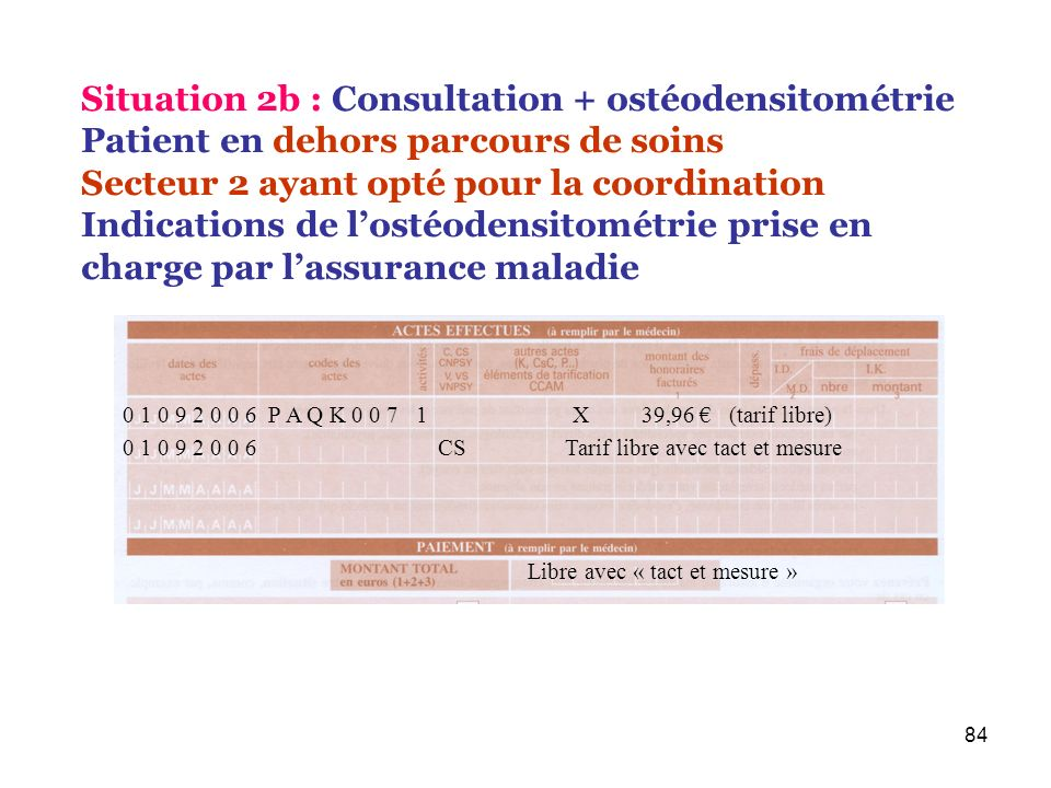 Situation 2b : Consultation + ostéodensitométrie