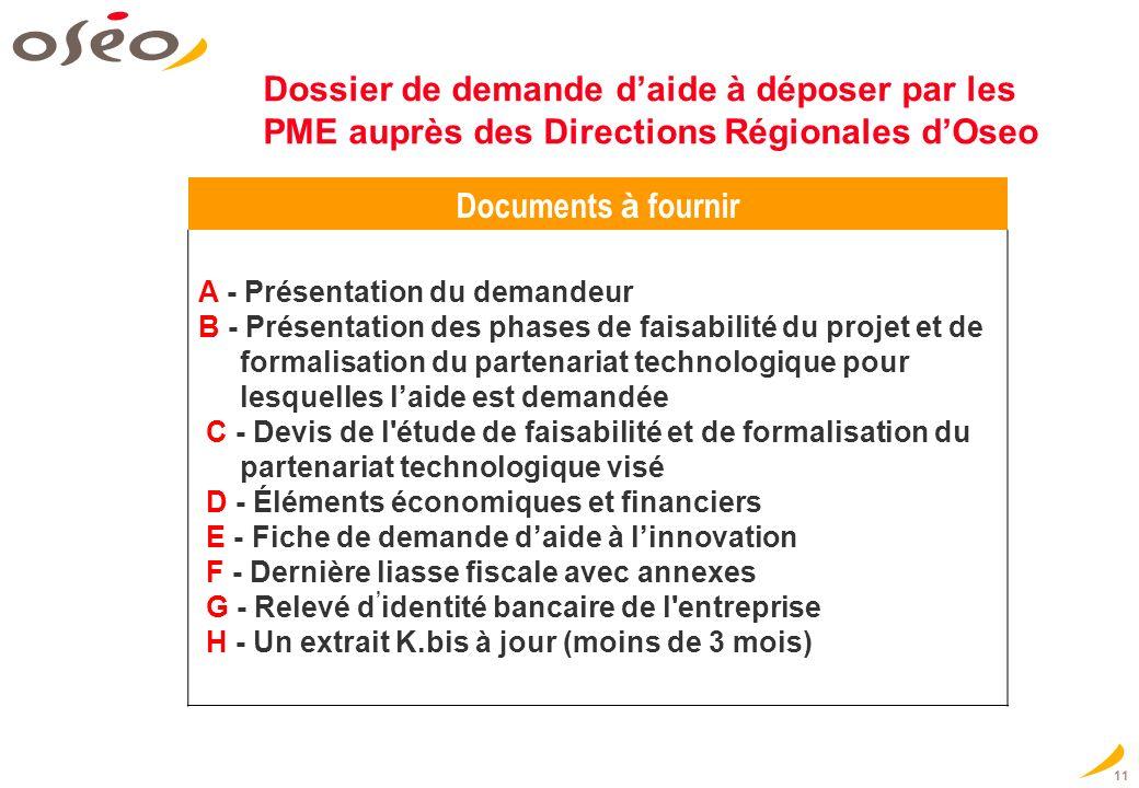 Dossier de demande d'aide à déposer par les PME auprès des Directions Régionales d'Oseo