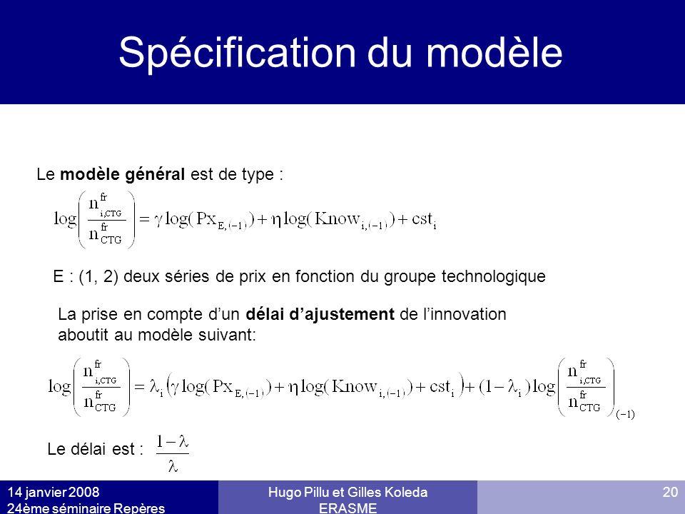 Spécification du modèle Models