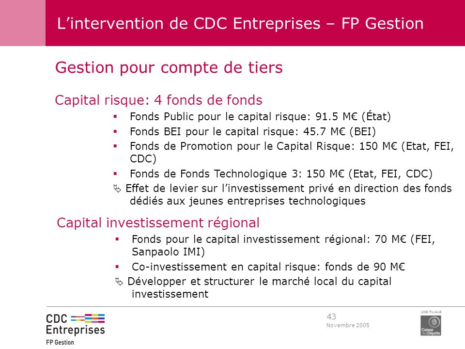 L'intervention de CDC Entreprises – FP Gestion