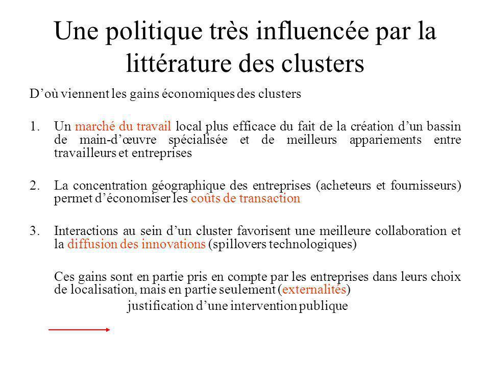 Une politique très influencée par la littérature des clusters