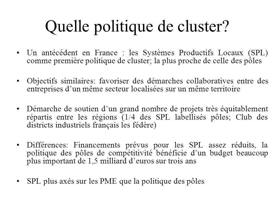 Quelle politique de cluster