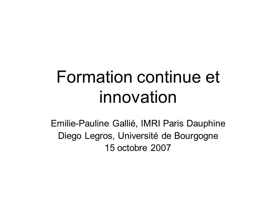 Formation continue et innovation