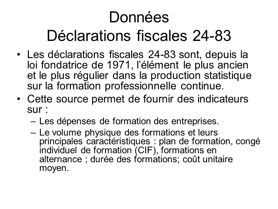 Données Déclarations fiscales 24-83
