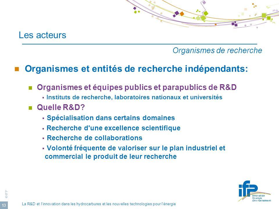 Organismes et entités de recherche indépendants: