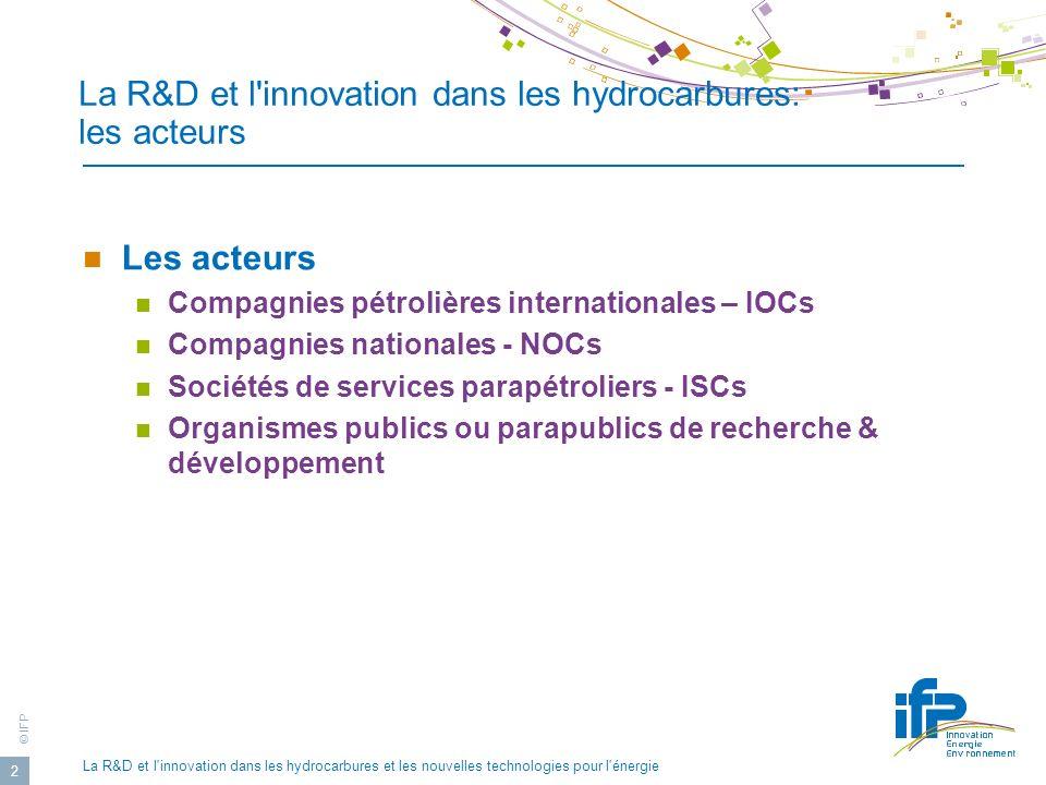 La R&D et l innovation dans les hydrocarbures: les acteurs