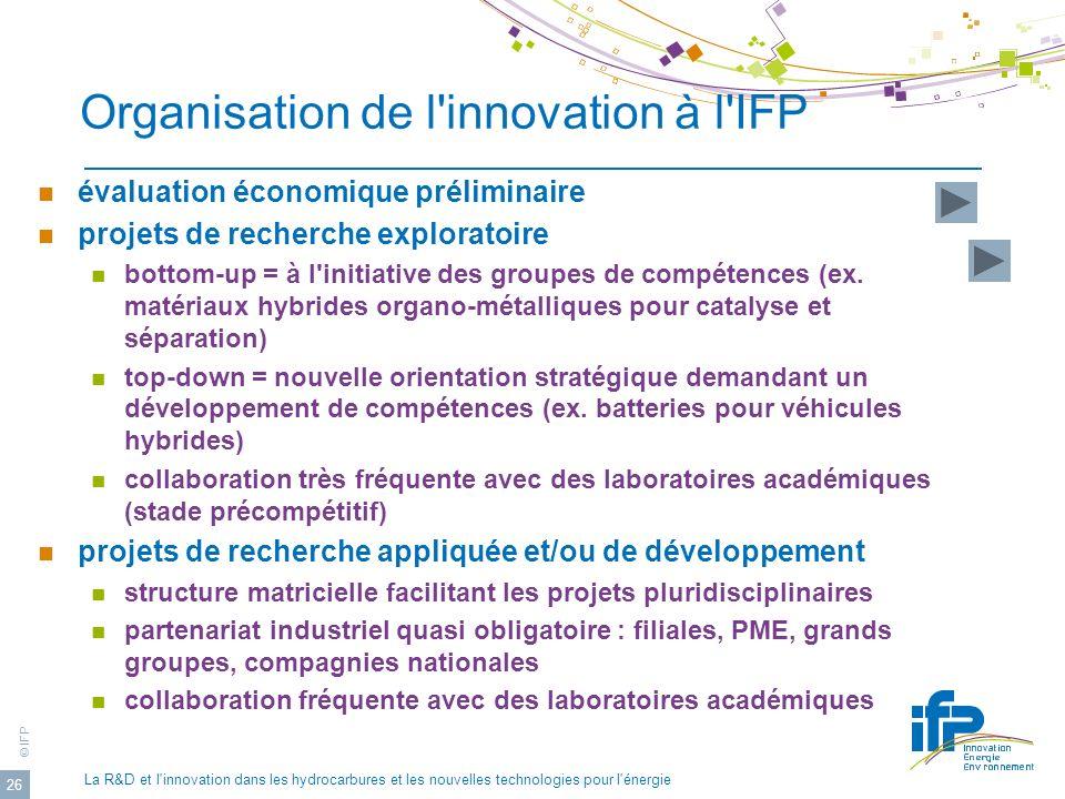 Organisation de l innovation à l IFP