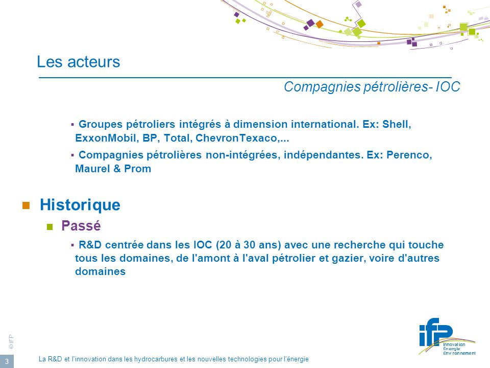 Les acteurs Historique Compagnies pétrolières- IOC Passé