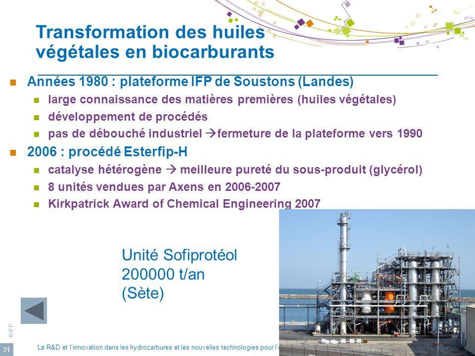 Transformation des huiles végétales en biocarburants