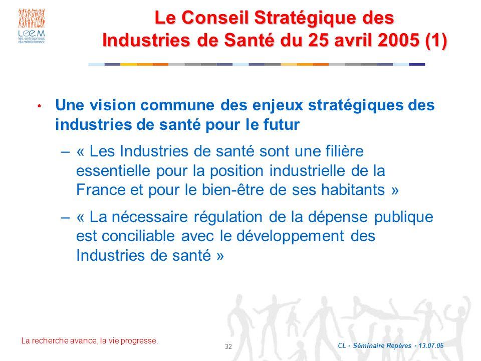 Le Conseil Stratégique des Industries de Santé du 25 avril 2005 (1)