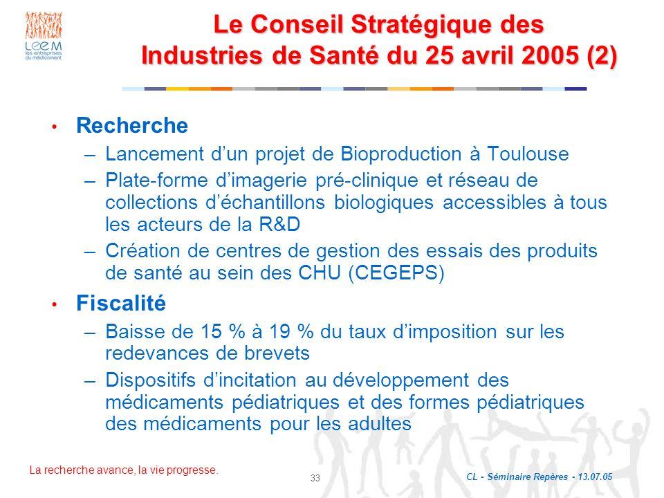 Le Conseil Stratégique des Industries de Santé du 25 avril 2005 (2)