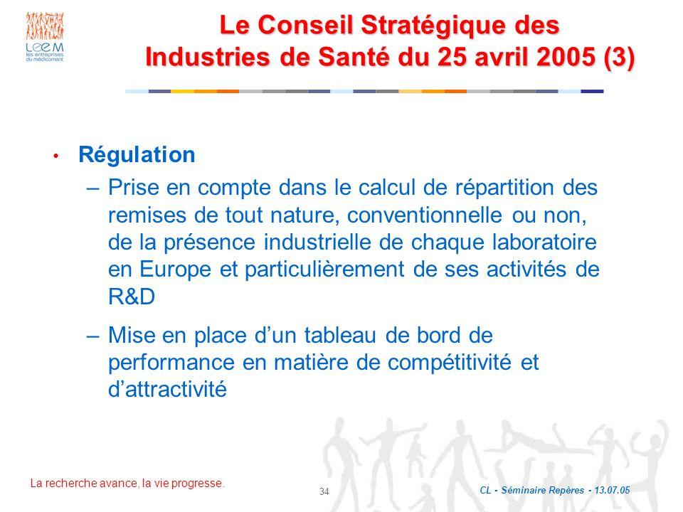 Le Conseil Stratégique des Industries de Santé du 25 avril 2005 (3)