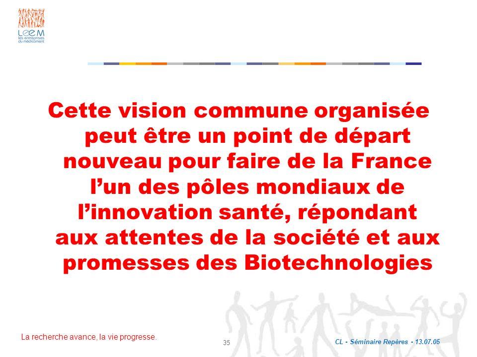 Cette vision commune organisée peut être un point de départ nouveau pour faire de la France l'un des pôles mondiaux de l'innovation santé, répondant aux attentes de la société et aux promesses des Biotechnologies