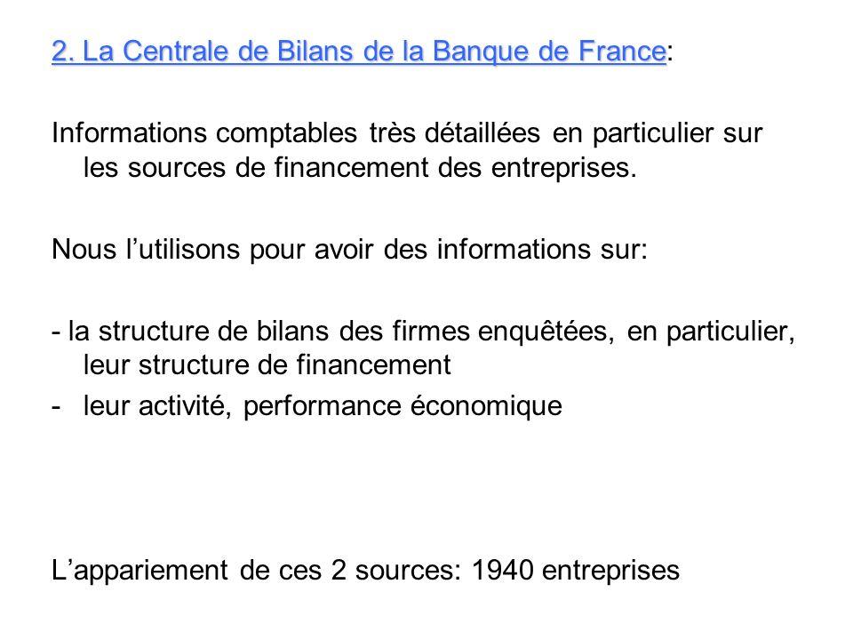 2. La Centrale de Bilans de la Banque de France: