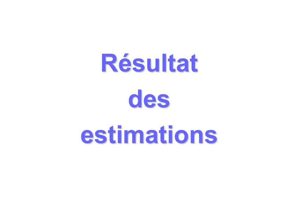 Résultat des estimations