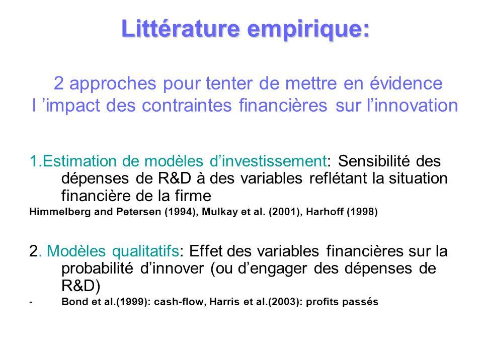 Littérature empirique: 2 approches pour tenter de mettre en évidence l 'impact des contraintes financières sur l'innovation