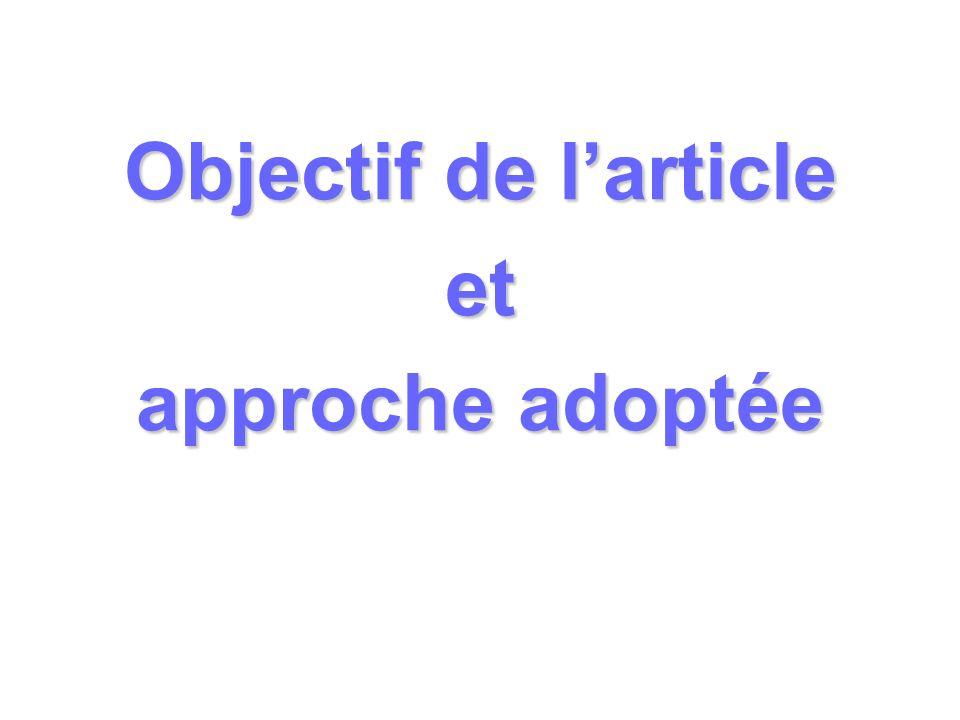Objectif de l'article et approche adoptée