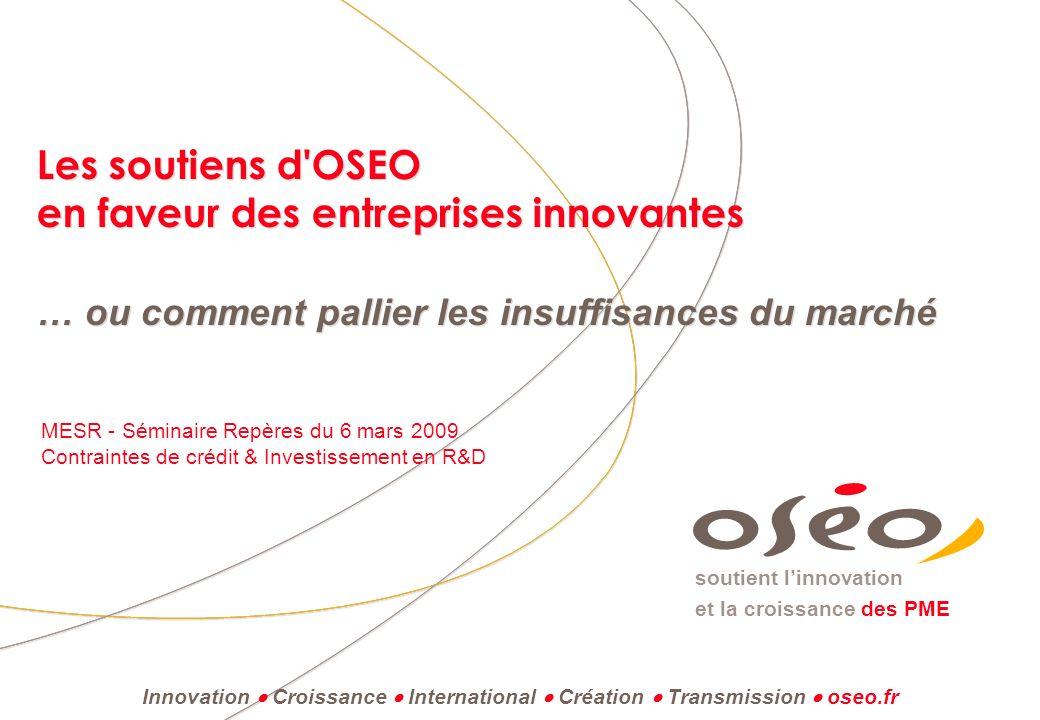 Les soutiens d OSEO en faveur des entreprises innovantes … ou comment pallier les insuffisances du marché