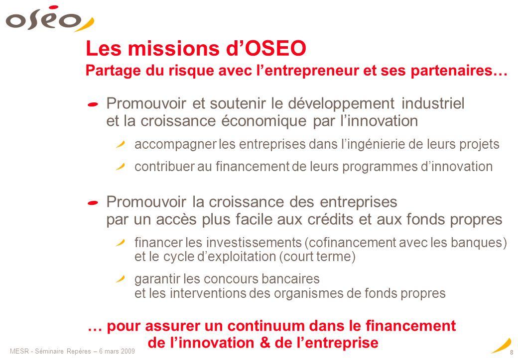 Les missions d'OSEO Partage du risque avec l'entrepreneur et ses partenaires…