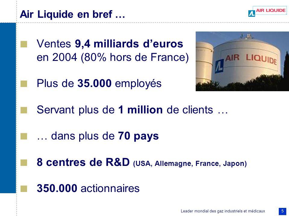Ventes 9,4 milliards d'euros en 2004 (80% hors de France)