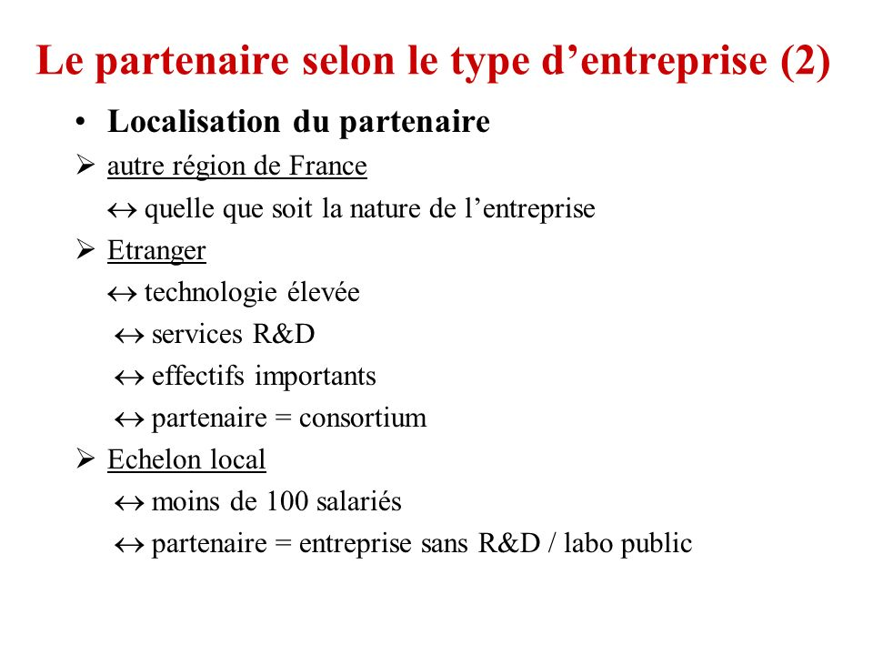 Le partenaire selon le type d'entreprise (2)