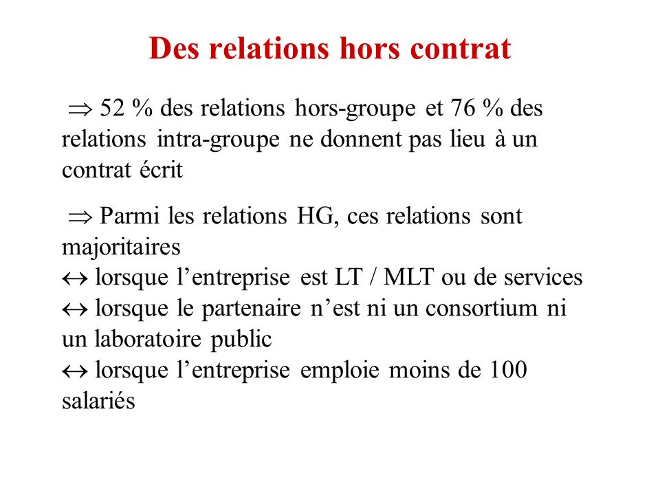 Des relations hors contrat