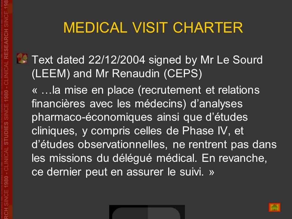 MEDICAL VISIT CHARTER Text dated 22/12/2004 signed by Mr Le Sourd (LEEM) and Mr Renaudin (CEPS)