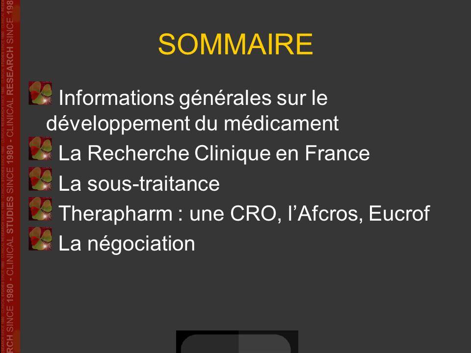 SOMMAIRE Informations générales sur le développement du médicament