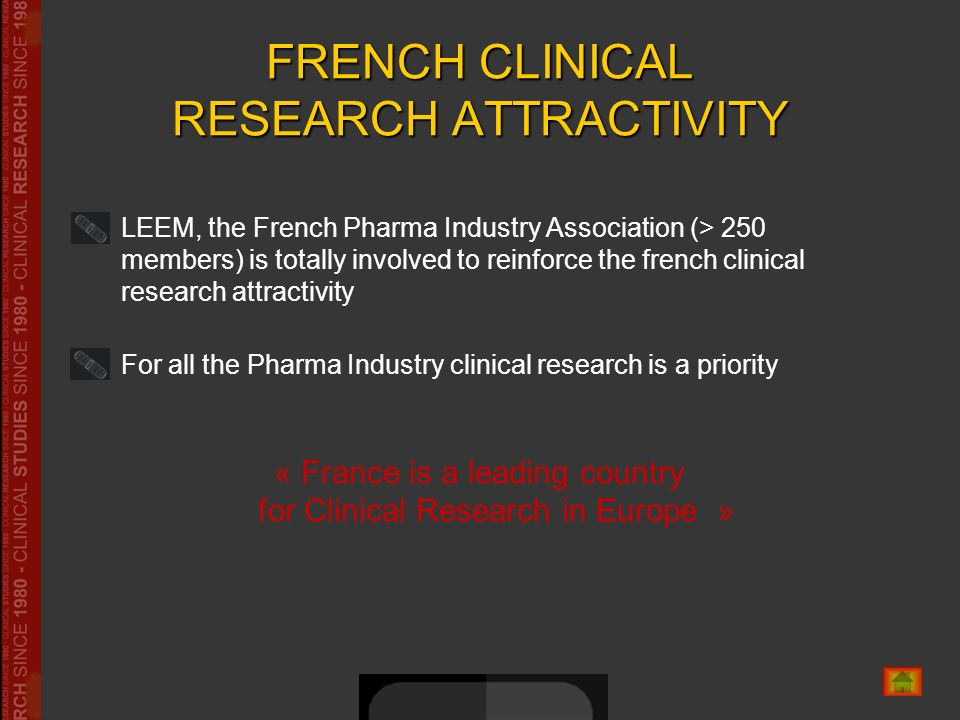 FRENCH CLINICAL RESEARCH ATTRACTIVITY