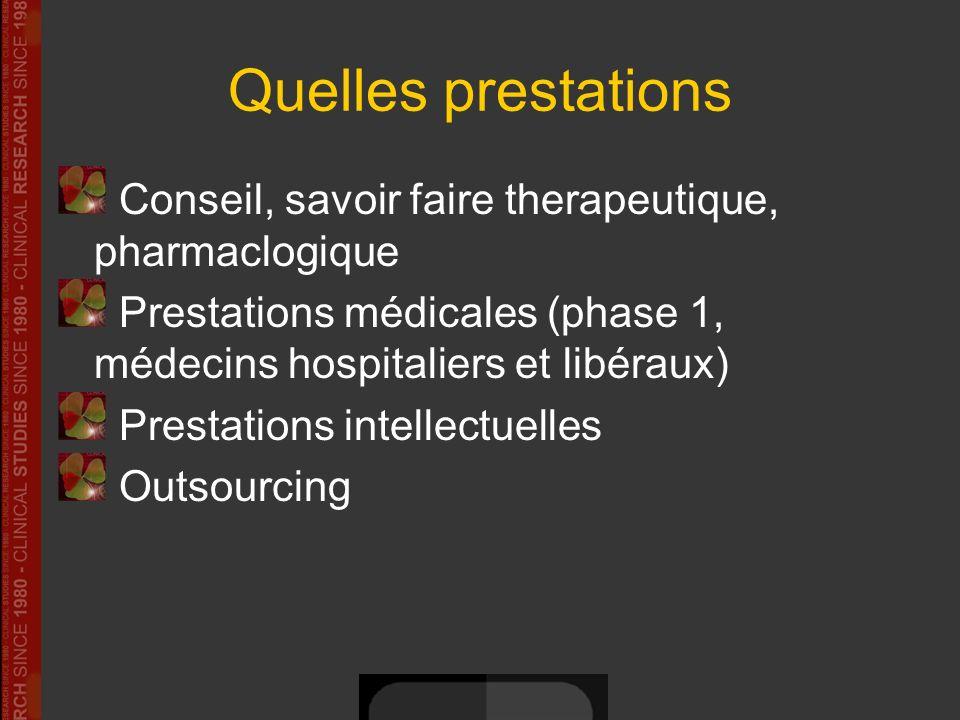 Quelles prestations Conseil, savoir faire therapeutique, pharmaclogique. Prestations médicales (phase 1, médecins hospitaliers et libéraux)