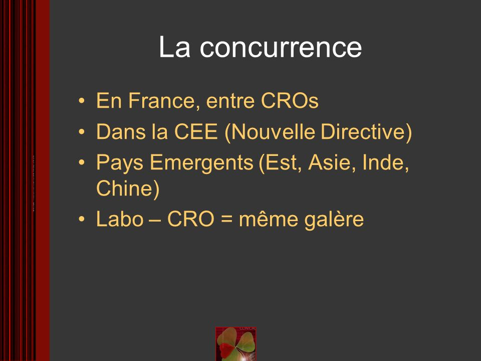 La concurrence En France, entre CROs Dans la CEE (Nouvelle Directive)