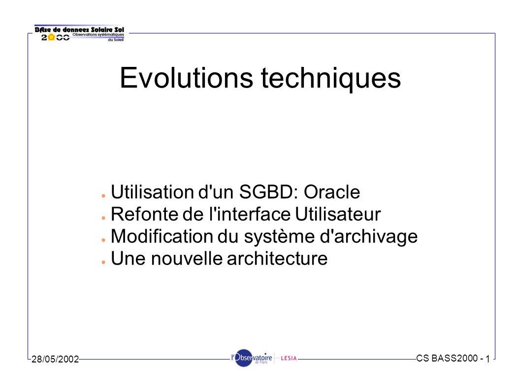 Evolutions techniques
