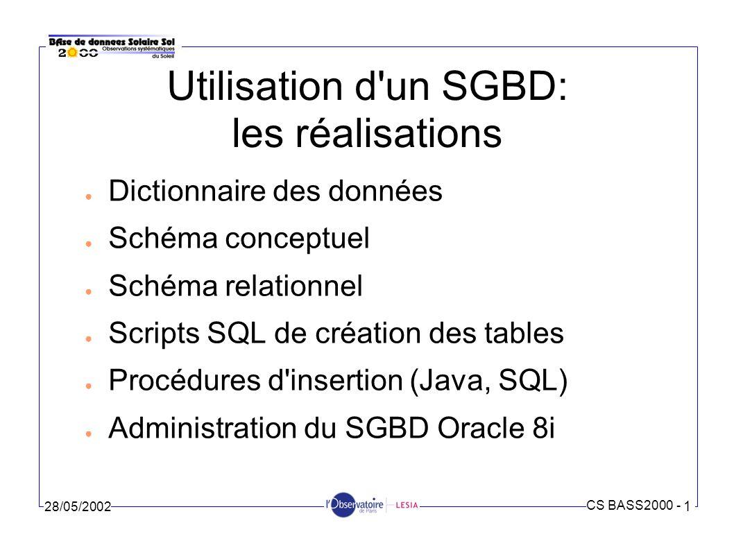 Utilisation d un SGBD: les réalisations