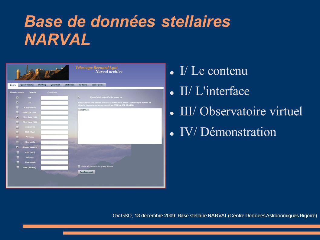 Base de données stellaires NARVAL