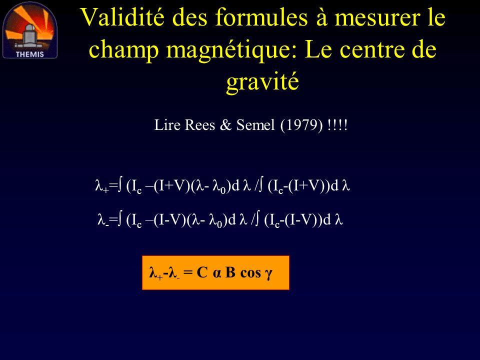 Validité des formules à mesurer le champ magnétique: Le centre de gravité