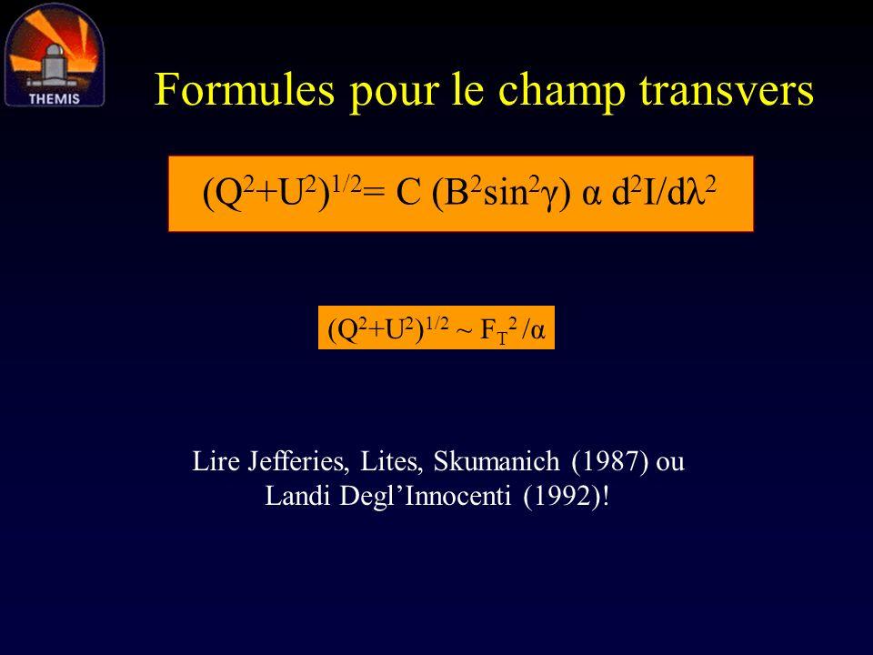 Formules pour le champ transvers