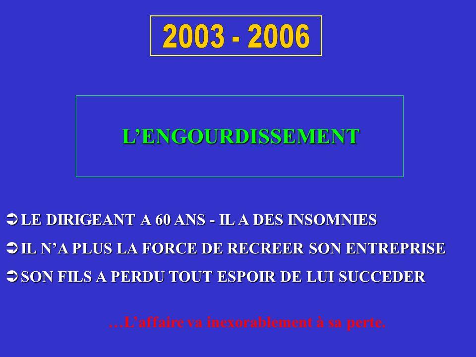 2003 - 2006 L'ENGOURDISSEMENT. LE DIRIGEANT A 60 ANS - IL A DES INSOMNIES. IL N'A PLUS LA FORCE DE RECREER SON ENTREPRISE.