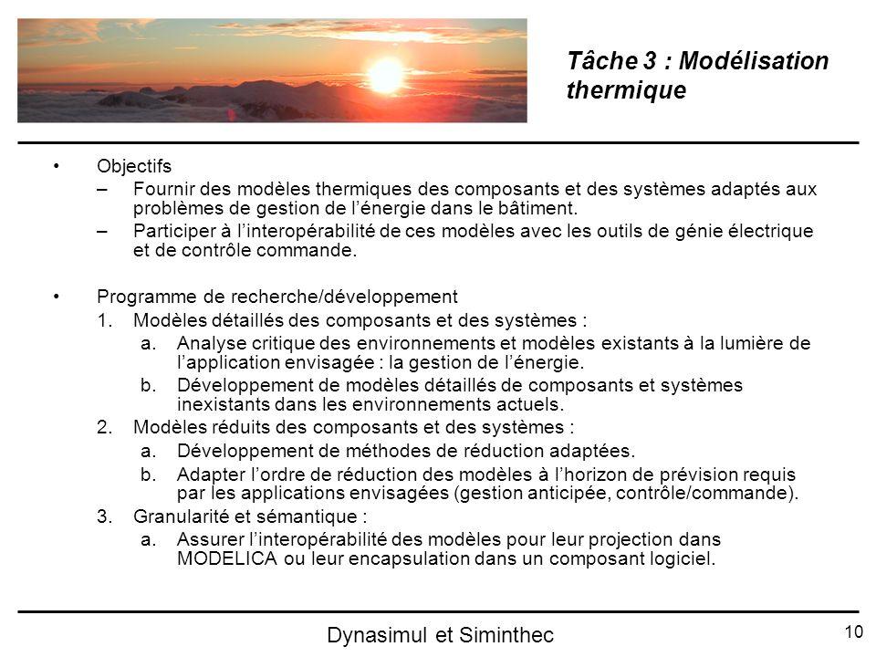 Tâche 3 : Modélisation thermique