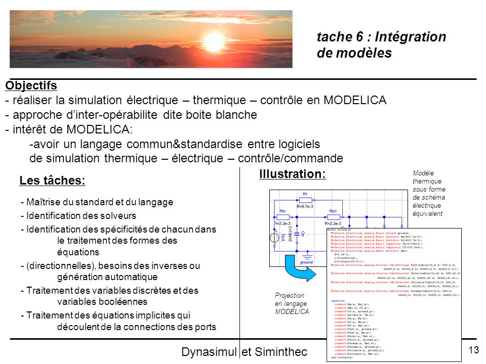 tache 6 : Intégration de modèles