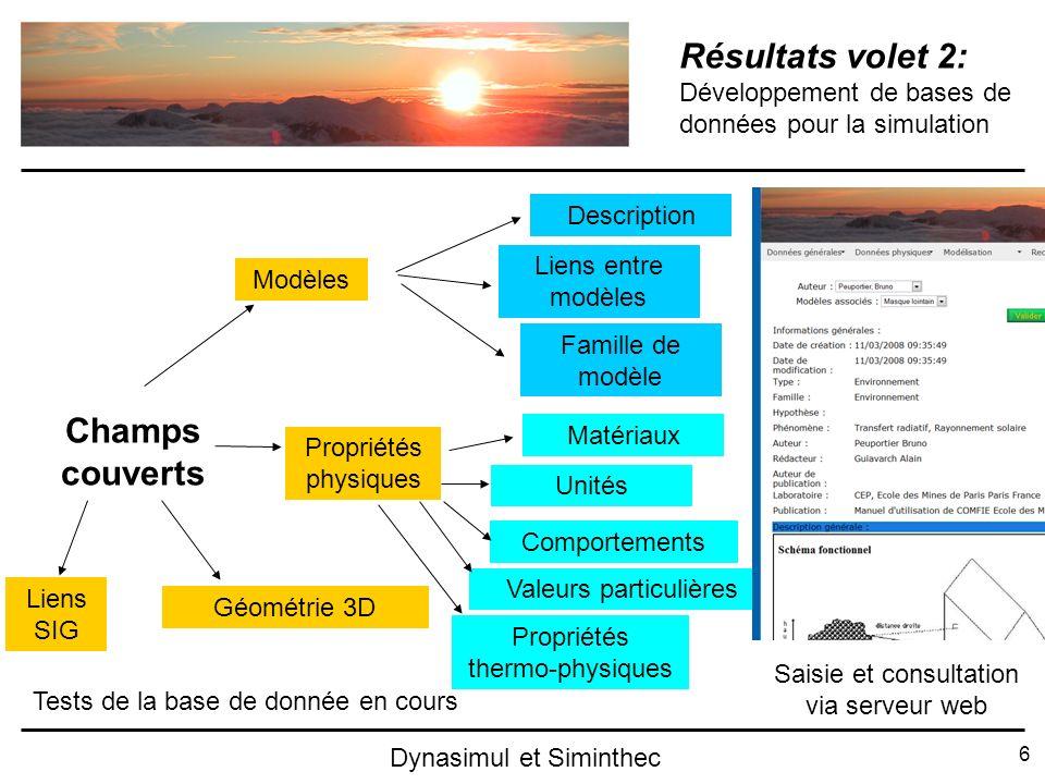 Résultats volet 2: Développement de bases de données pour la simulation