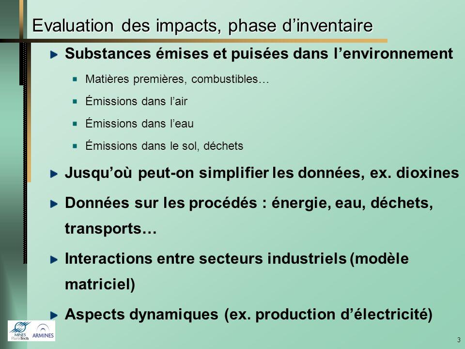 Evaluation des impacts, phase d'inventaire