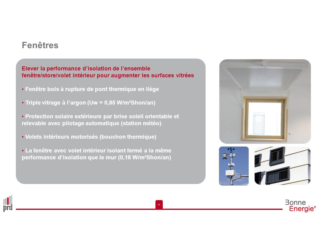 Fenêtres Elever la performance d'isolation de l'ensemble fenêtre/store/volet intérieur pour augmenter les surfaces vitrées.