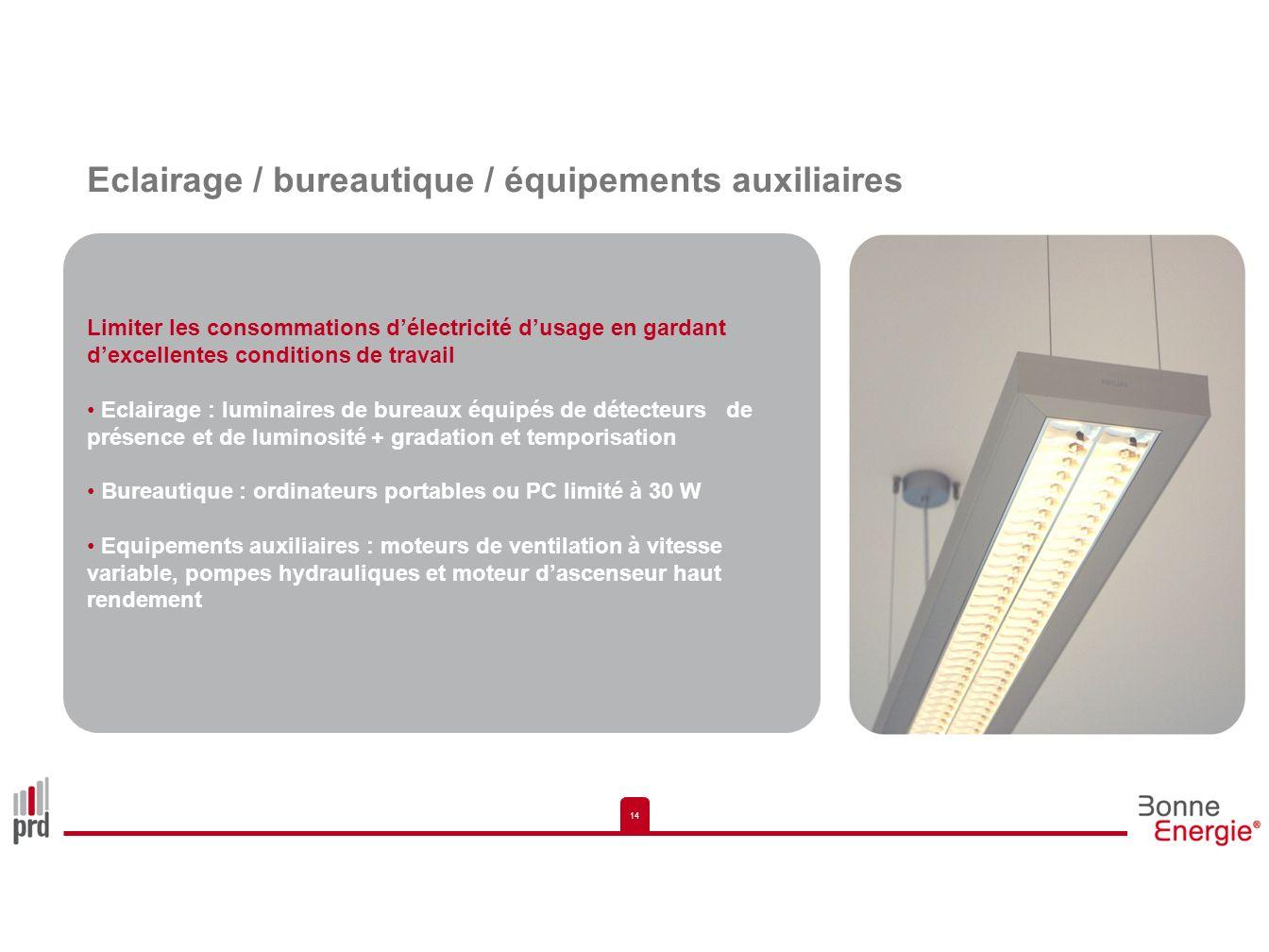 Eclairage / bureautique / équipements auxiliaires