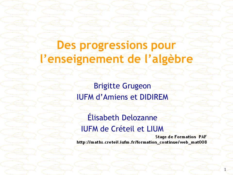 Des progressions pour l'enseignement de l'algèbre